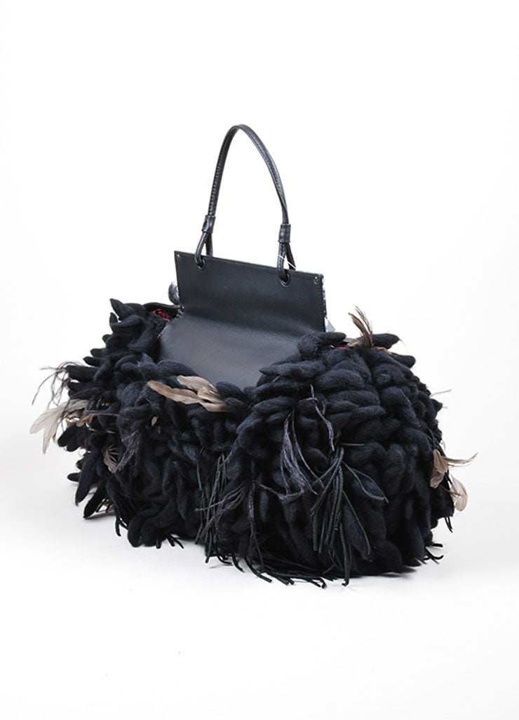 "Black Grey Fendi Feather Python ""Voodoo to You"" Tote Side"