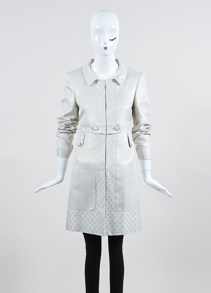 Cream and Metallic Gold Gucci Jacquard Weave Jacket Frontview 2