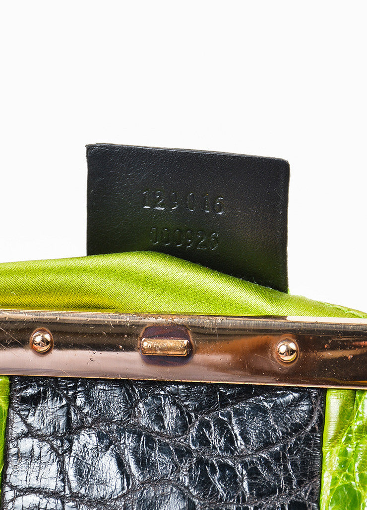 Brown, Green, and Black Tom Ford for Gucci Monogram Canvas Crocodile Snake Head Bag Serial