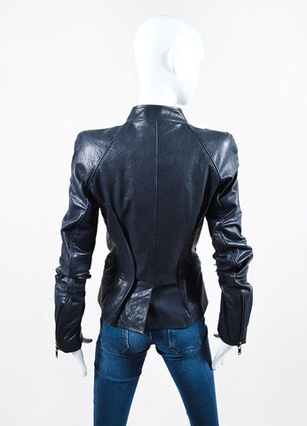 "Navy Haider Ackermann Leather Zipper Tailored ""Athena"" Jacket Backview"