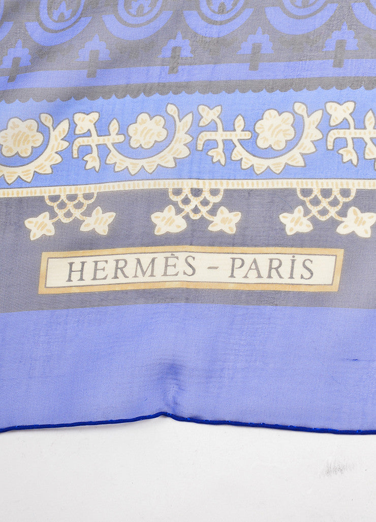 "Hermes Blue and Multicolor Silk ""Brins d'Or"" Geometric Print 140cm Sheer Scarf Brand"