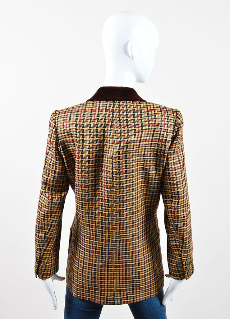 Brown, Black, and Red Hermes Wool and Silk Houndstooth Plaid Blazer Backview