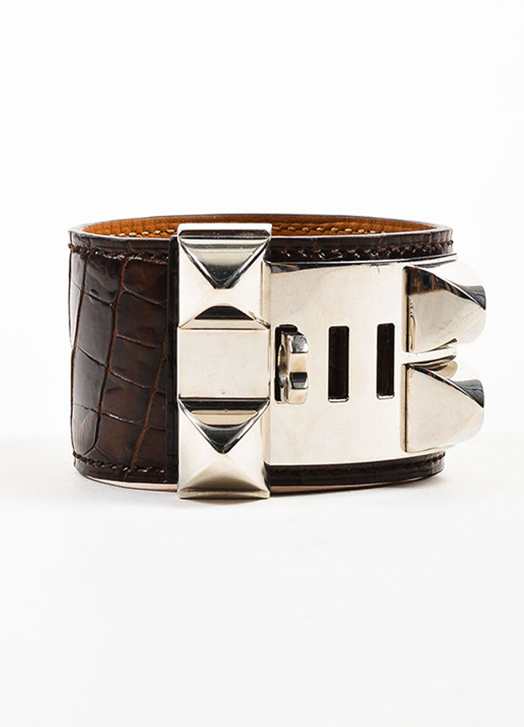 "Brown and Silver Toned Hermes Alligator Leather ""Collier de Chien"" Cuff Bracelet Sideview"