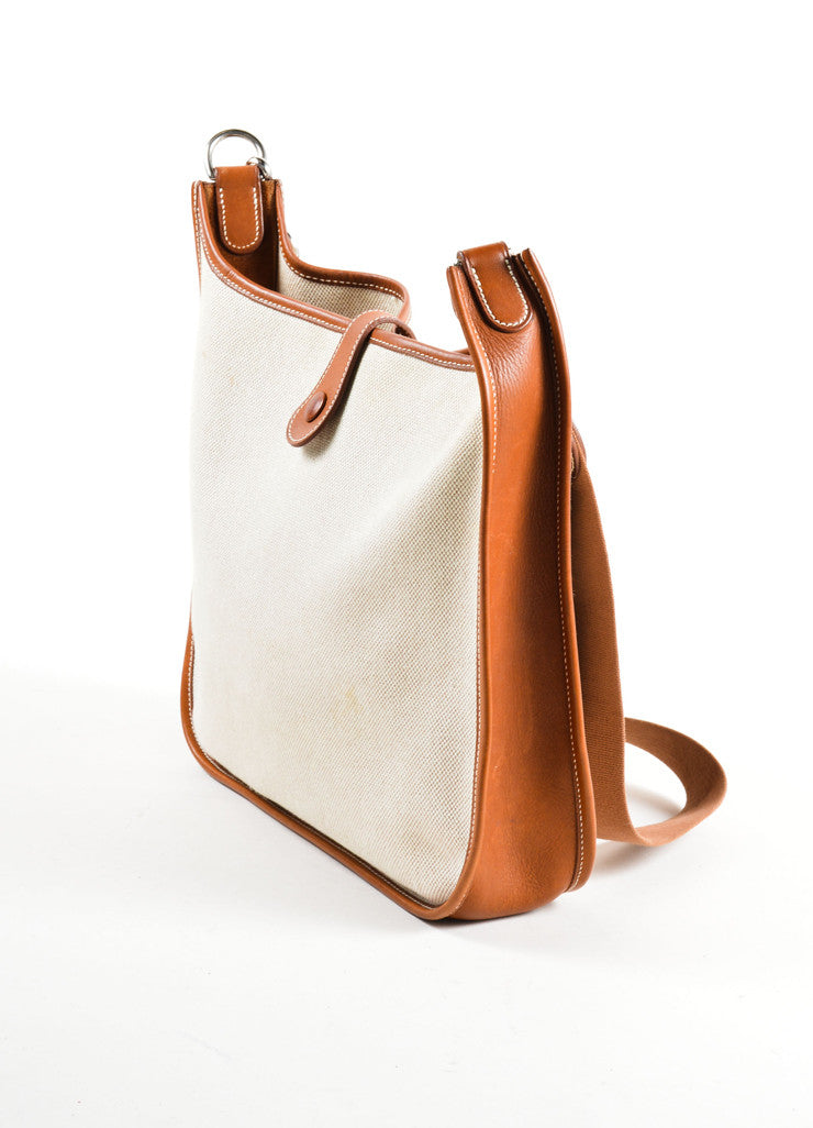 Hermes Cream Brown Canvas Leather 'H'Logo Crossbody Bag Side