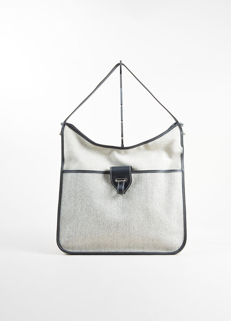 "Hermes Cream and Grey Leather and Canvas Chevron Woven ""Jumping"" Shoulder Bag Frontview"