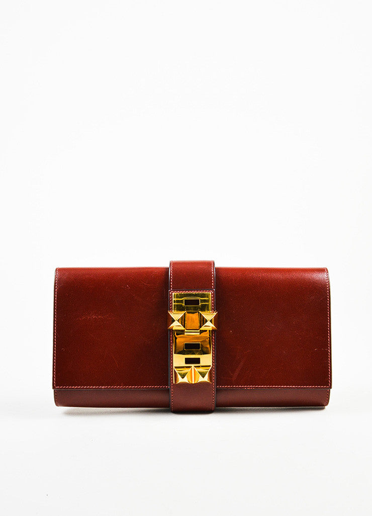 "Hermes Oxblood Red Box Calf Leather Gold Toned Stud ""Medor 29cm"" Clutch Bag Frontview"