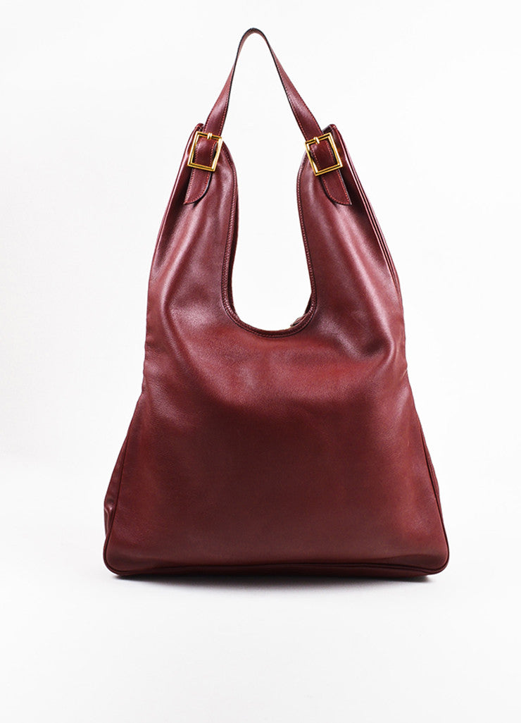 "Hermes ""Sienne"" Red and Gold Toned Leather Buckle ""Massai GM"" Shoulder Hobo Bag Frontview"