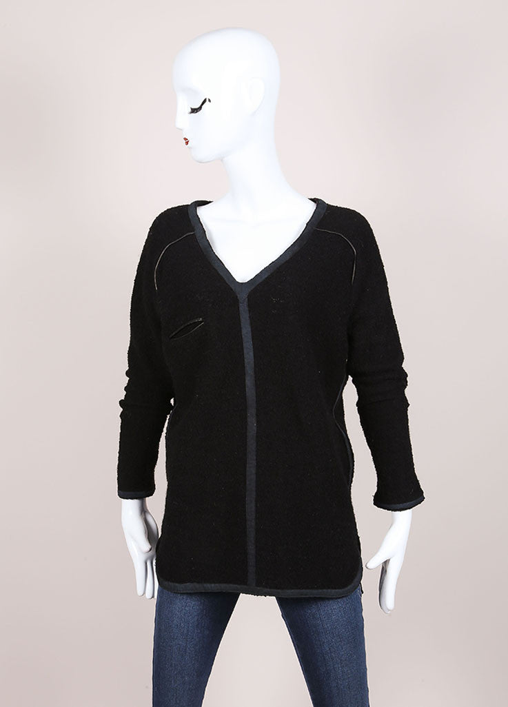 Isabel Marant Black Wool Blend Boucle Leather Trim Long Sleeve Sweater Frontview