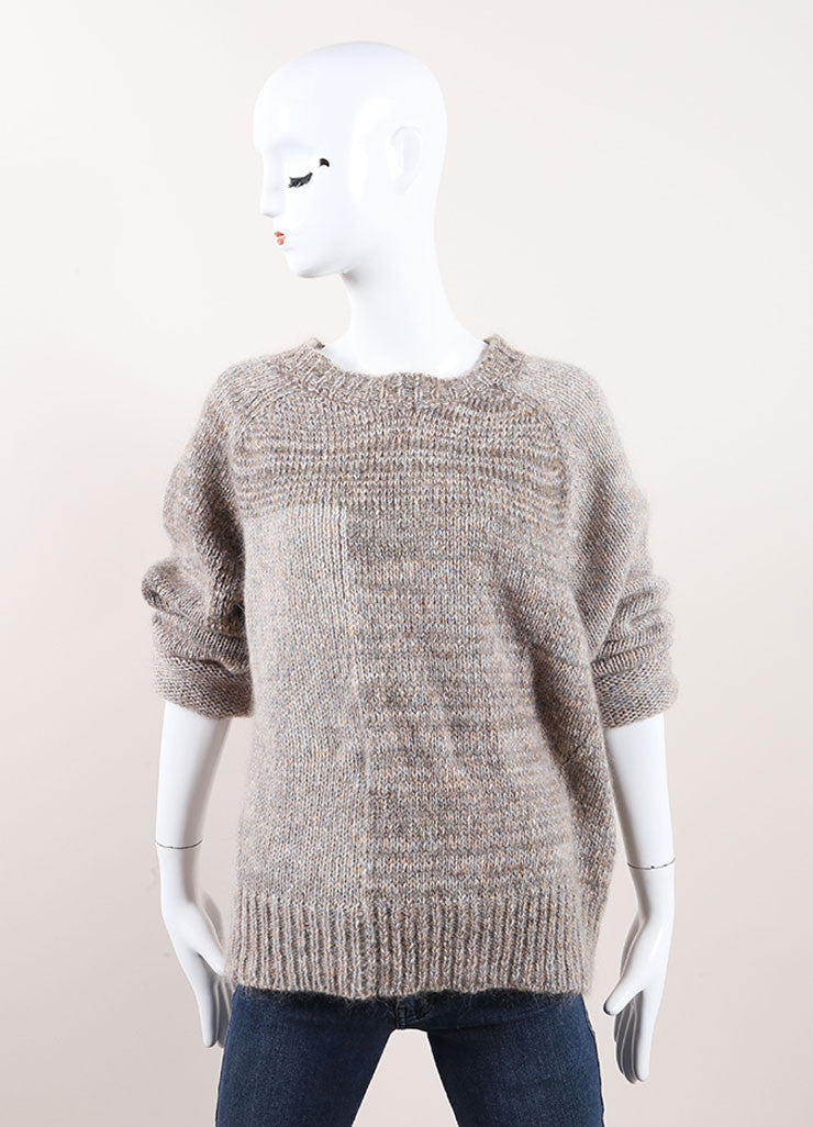 "Isabel Marant Grey Mohair and Wool ""Naoko"" Pull Over Sweater Frontview"