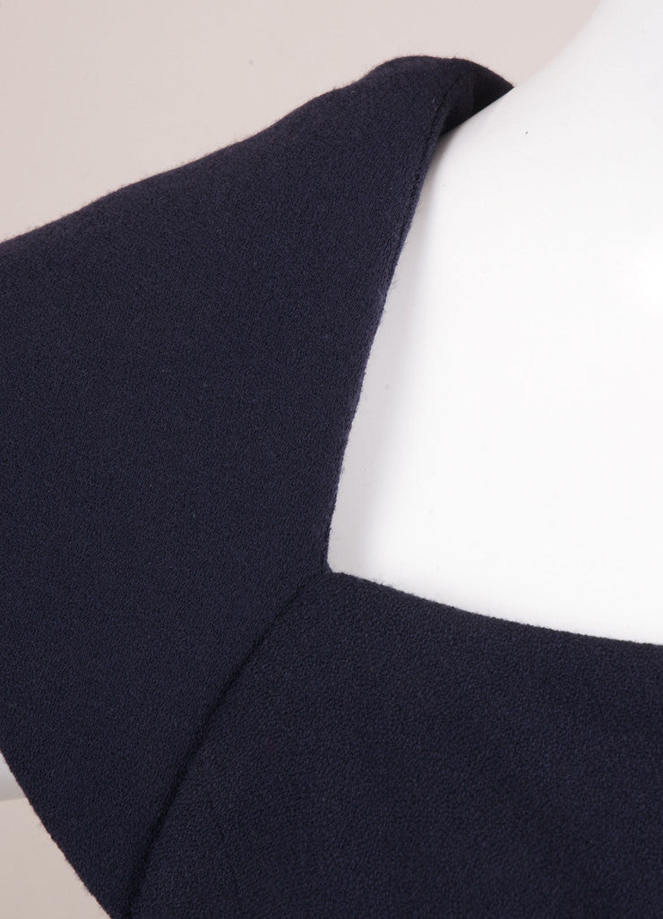 J. Mendel Navy Wool and Sheer Silk Chiffon Sleeveless Dress Detail