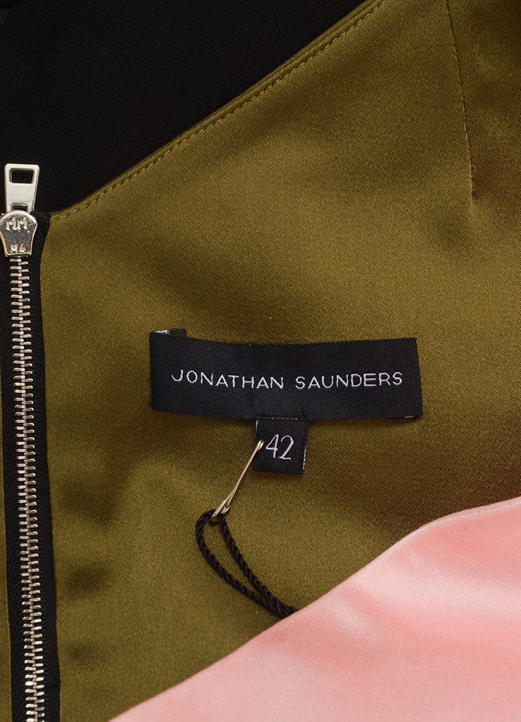 "Jonathan Saunders New With Tags Black, Green, and Pink Satin and Crepe ""Adeline"" Dress Brand"