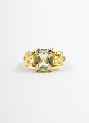 Judith Ripka Gold Toned, Green, and Yellow Quartz Diamond Cocktail Ring Frontview