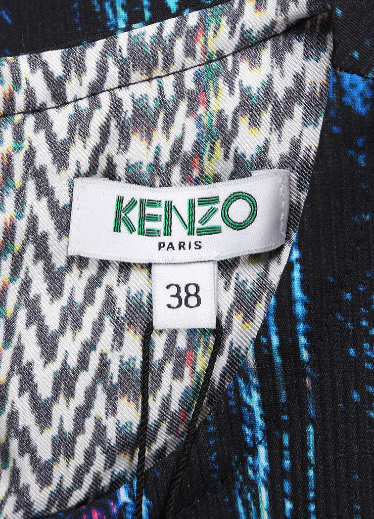 "Kenzo New With Tags Blue and Black ""Sapphire Distortion"" Print Sleeveless Shift Dress Brand"