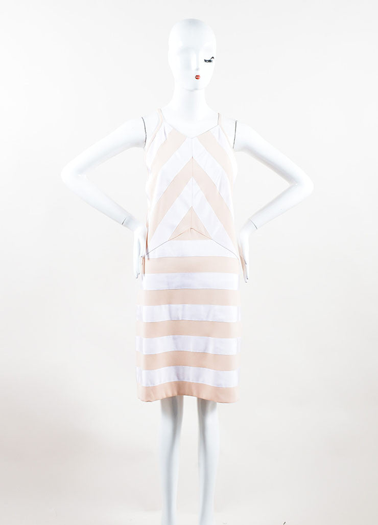 Peach, Nude and White Crepe Ribbon Striped Sleeveless Dress Front
