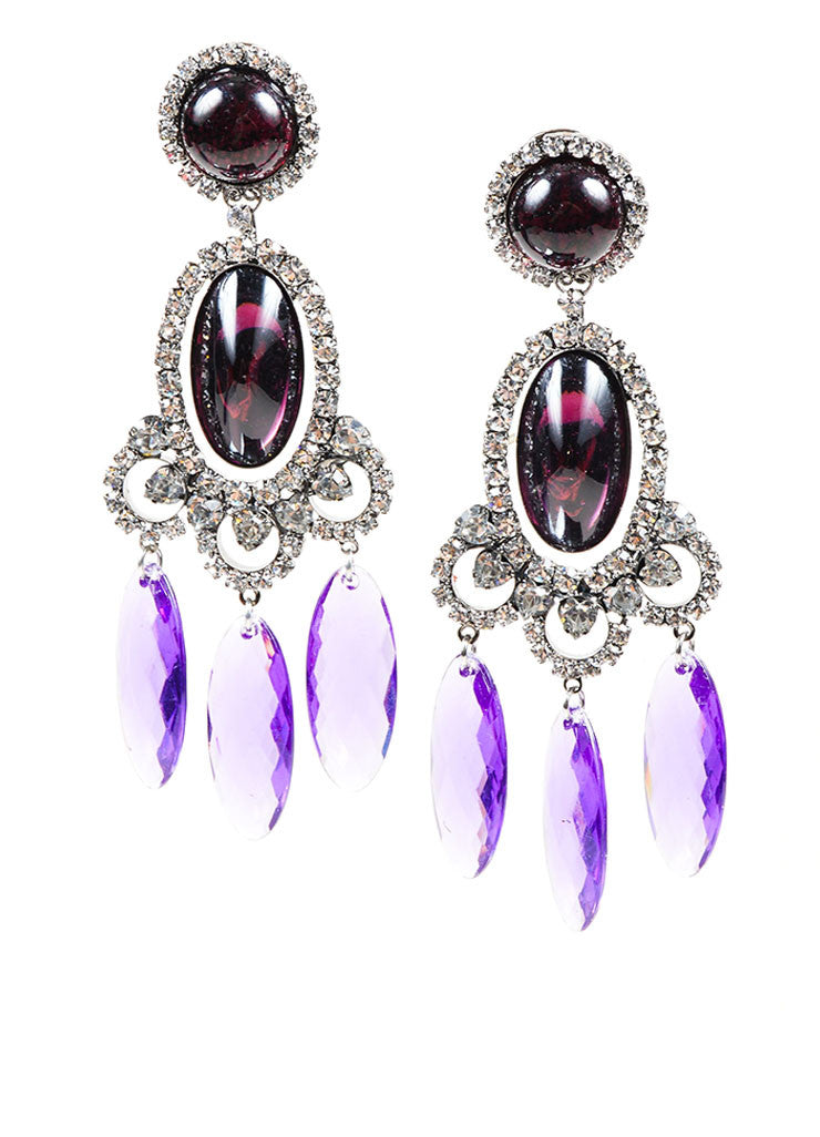 Purple Oval Lawrence VRBA Chandelier Clip On Earrings Front