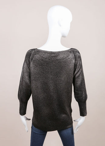 Leetha New With Tags Black and Silver Metallic Shimmer Sweater Backview