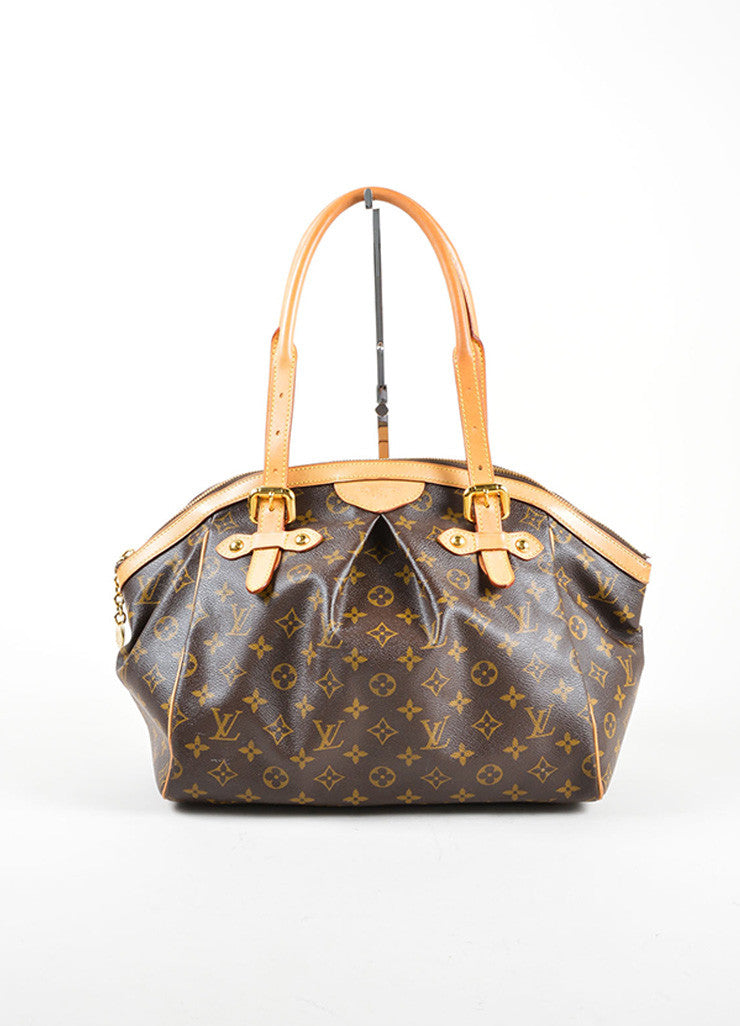 "Louis Vuitton Brown Monogram Canvas Leather Trim ""Tivoli GM"" Shoulder Bag Frontview"