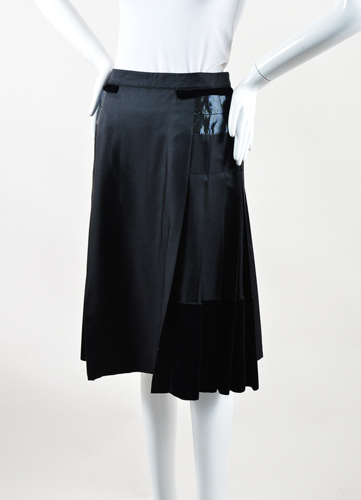 Louis Vuitton Black Silk and Wool Velvet Iridescent Trim Pleated Skirt Sideview