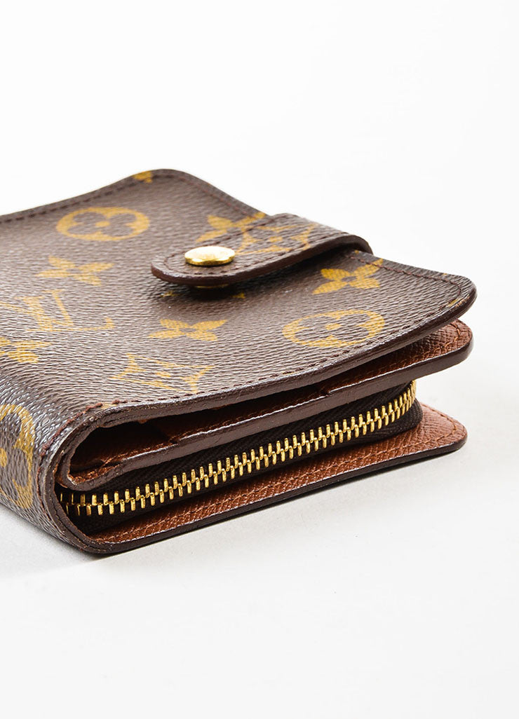"Louis Vuitton Brown Tan Coated Canvas Monogram ""Compact Zip"" Wallet Detail"