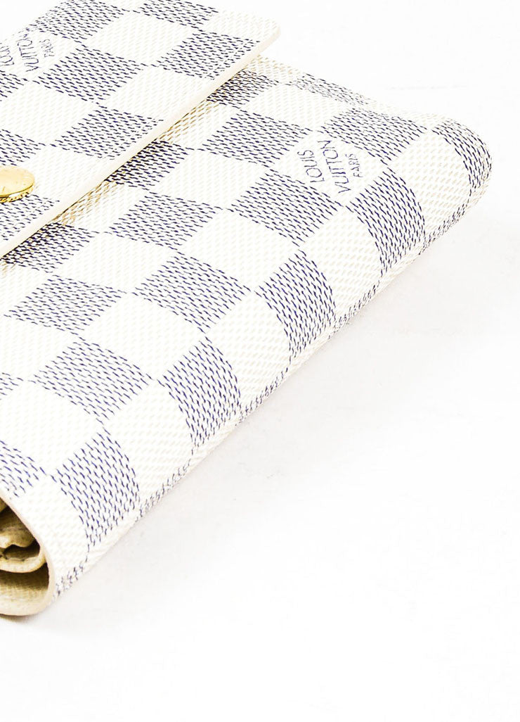 "Cream and Blue Louis Vuitton ""Damier Azur"" Coated Canvas ""Alexandra"" Wallet Bottom View"