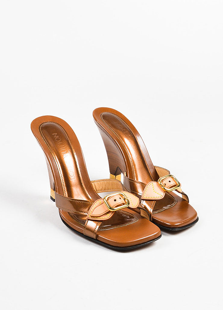 Louis Vuitton Brown Patent Leather Buckle Wooden Wedge Slide Sandals Frontview