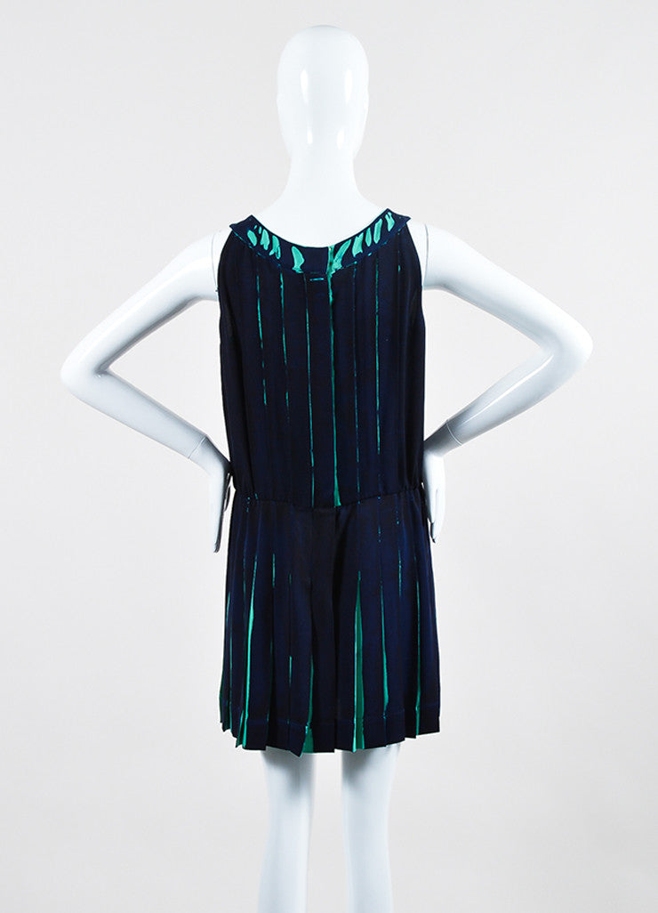 Navy and Teal Louis Vuitton Silk Printed Pleated Sleeveless Dress Backview