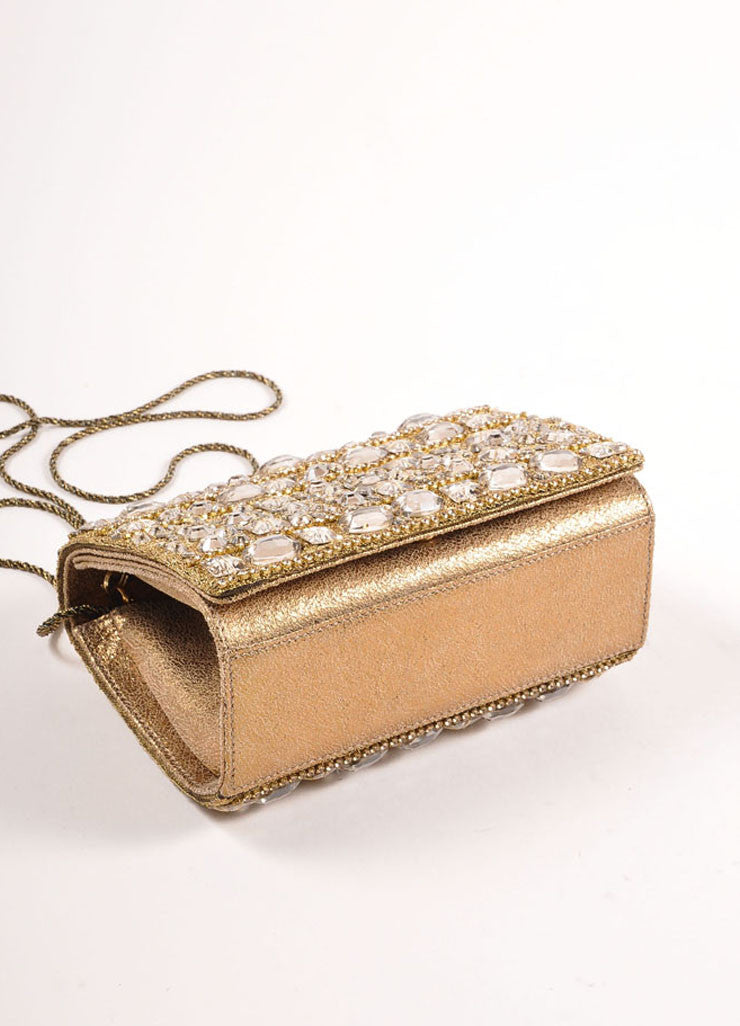 Marchesa Gold Metallic Leather Rhinestone Embellished Clutch Bag Bottom View