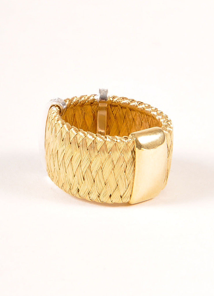 Marco Bicego 18KT Gold Braided Diamond Trim Ring Sideview