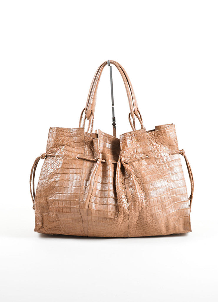Nancy Gonzalez Taupe Crocodile Drawstring Tote Bag Frontview