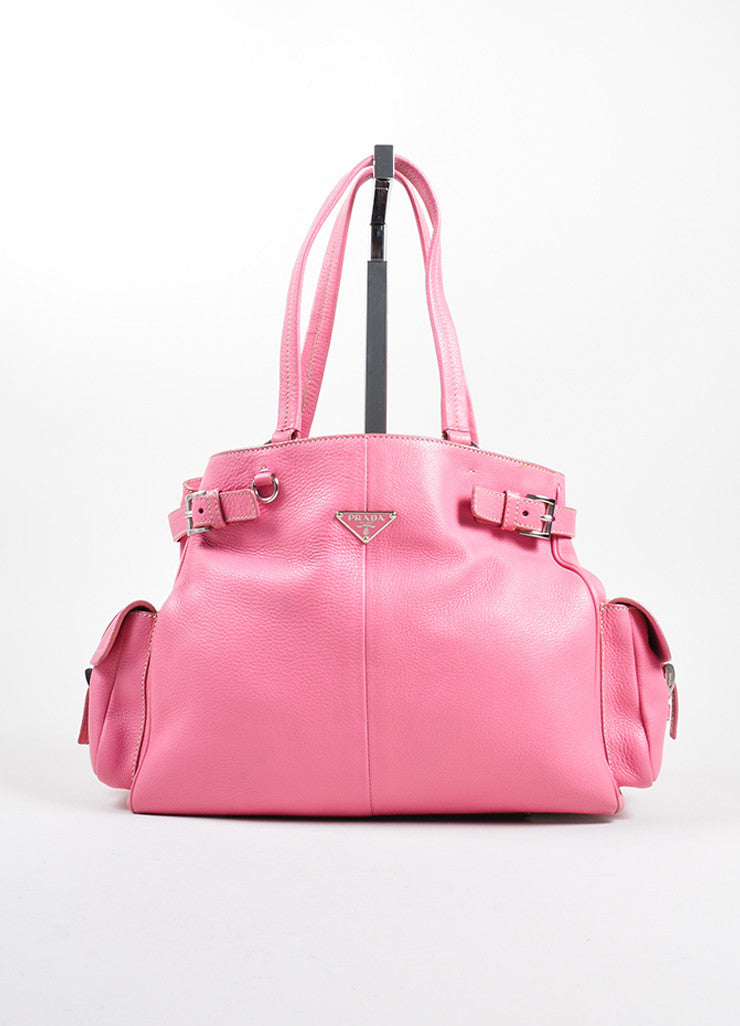 Prada Pink Pebbled Leather Shopping Satchel Bag Front