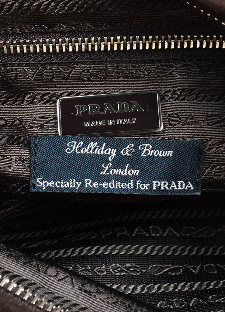 Prada Brown, Pink, and White Satin Holiday & Brown London Specially Reedited Wristlet Brand
