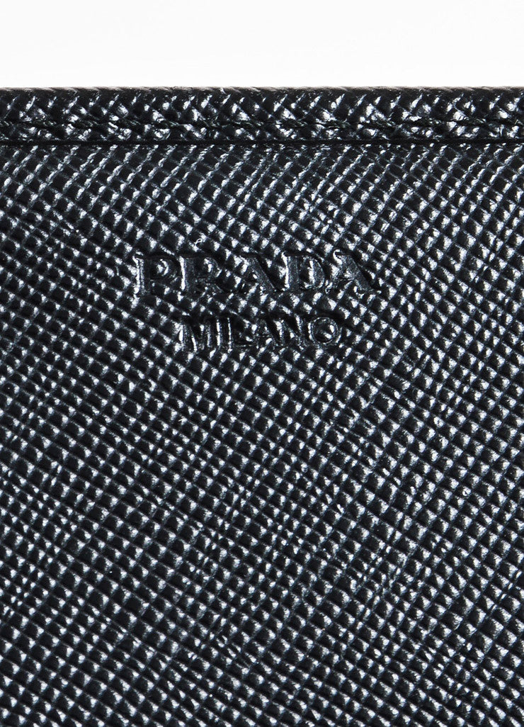 Prada Black Coated Saffiano Leather Snap Flap Letter Logo Continental Wallet Brand