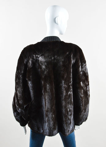 Revillon Dark Brown and Black Fur and Knit Button Down Long Sleeve Oversized Coat Back