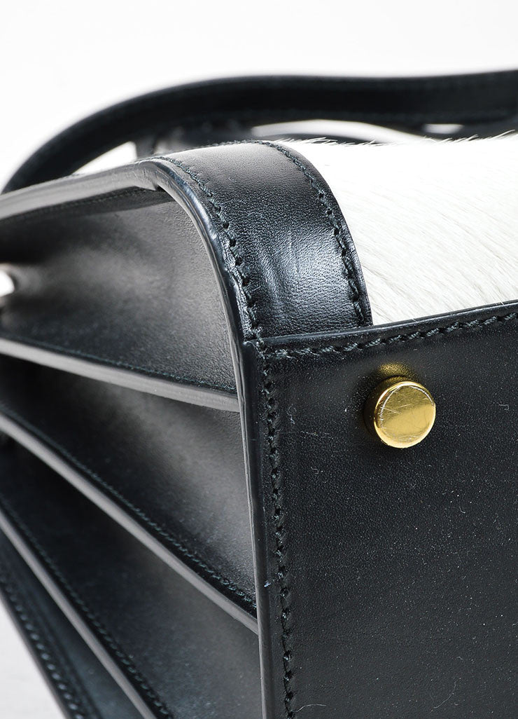 "Black and White Pony Hair Leather Saint Laurent ""Small Sac De Jour"" Tote Bag Detail"