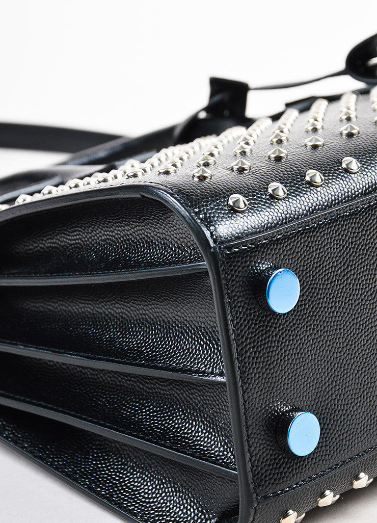 "Saint Laurent Black and Silver Grain Leather ""Nano Sac de Jour"" Bag Detail"