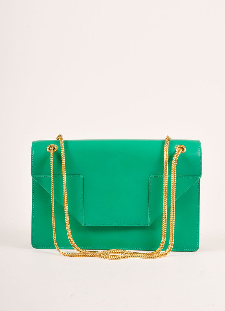 "Saint Laurent New With Tags Green Leather ""Borsa Betty 2"" Medium Chain Hanbag Frontview"
