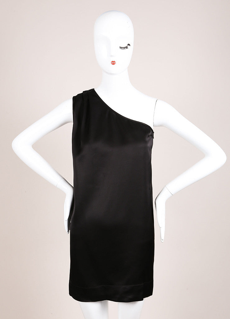 Stella McCartney Black Satin Pleated One Shoulder Tunic Dress Frontview