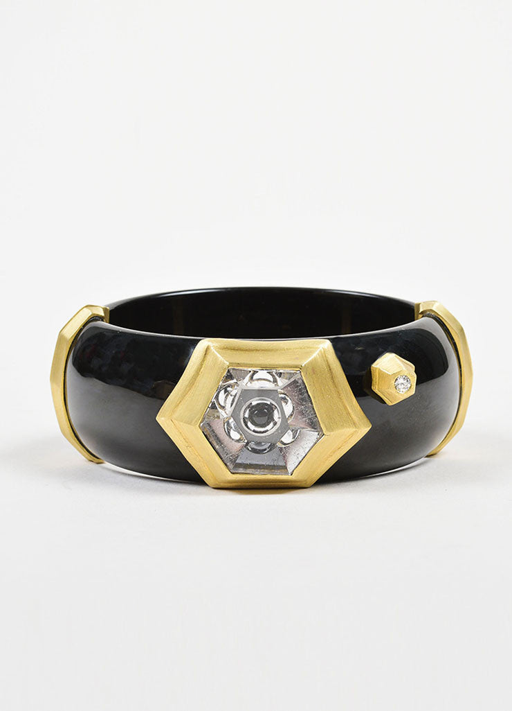 Susan Sadler 18K Gold, Black Bakelite, Rutilated Quartz, and Diamond Bangle Frontview