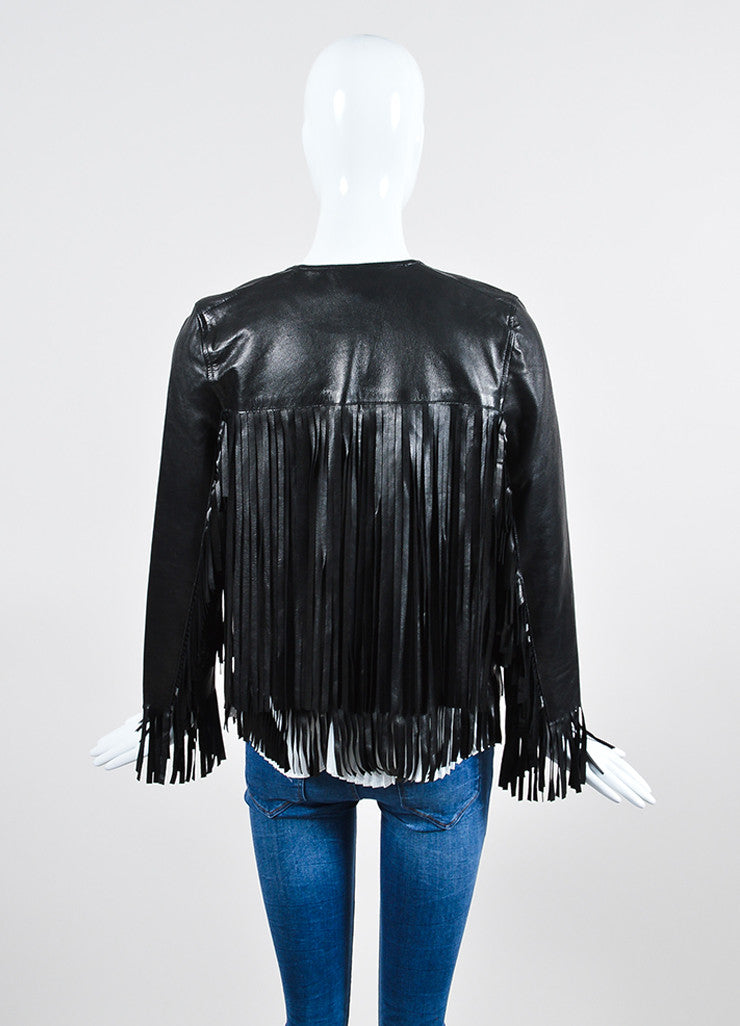 "The Perfext Black Leather Fringe ""April"" Jacket Backview"