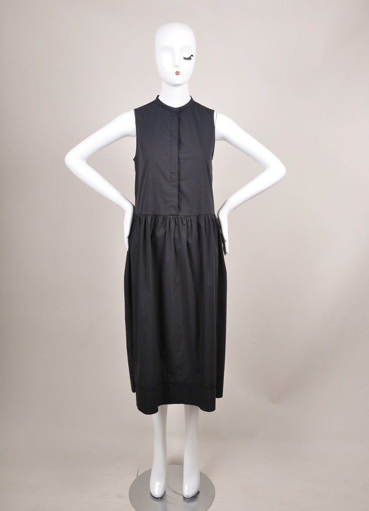 "The Row New With Tags Navy Cotton Poplin Sleeveless Drop Waist ""Ursa"" Dress Frontview"