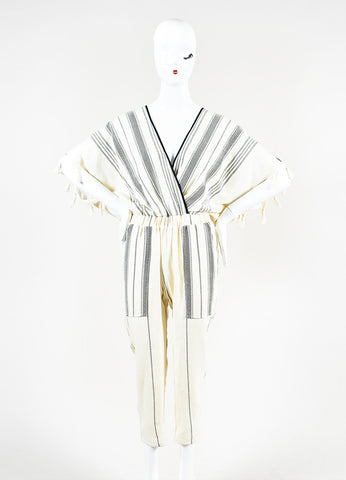 "Koza Cream and Black Cotton Striped and Tasseled ""Merry"" Jumpsuit Frontview"