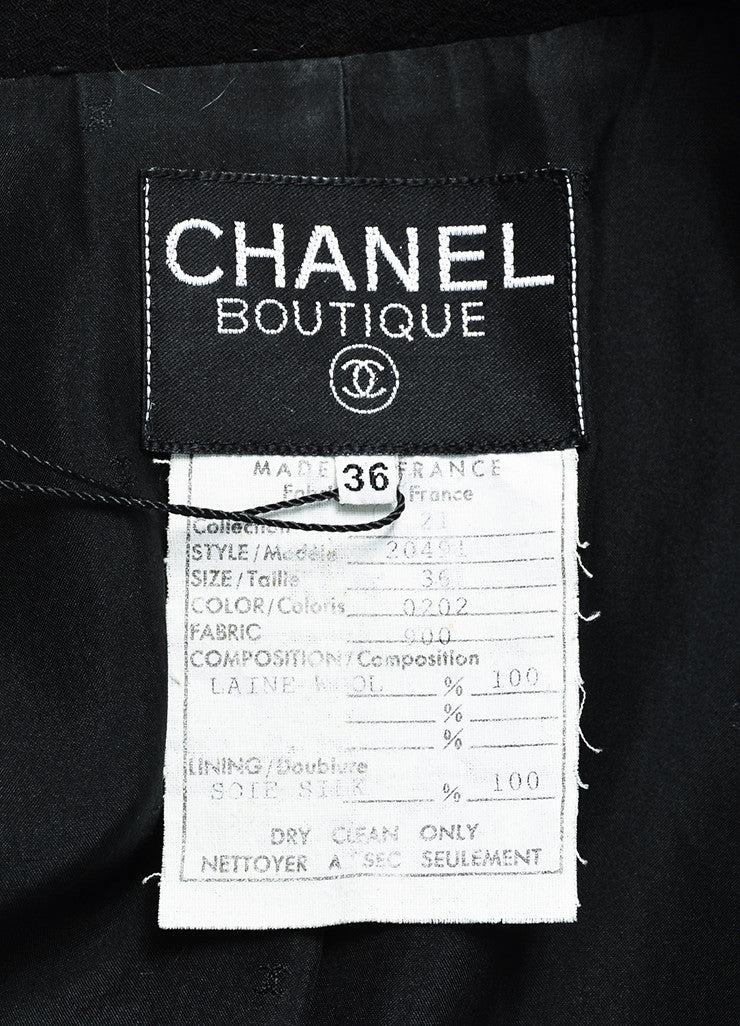 Chanel Black Wool Gold Toned 'CC' Logo Button Jacket Brand