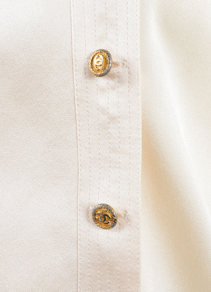 Chanel Cream Silk Satin Button Up Double Breasted Blouse Detail