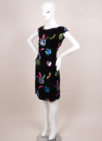 Christian Lacroix Black Velvet Multicolor Sequin Embellished Dress Sideview