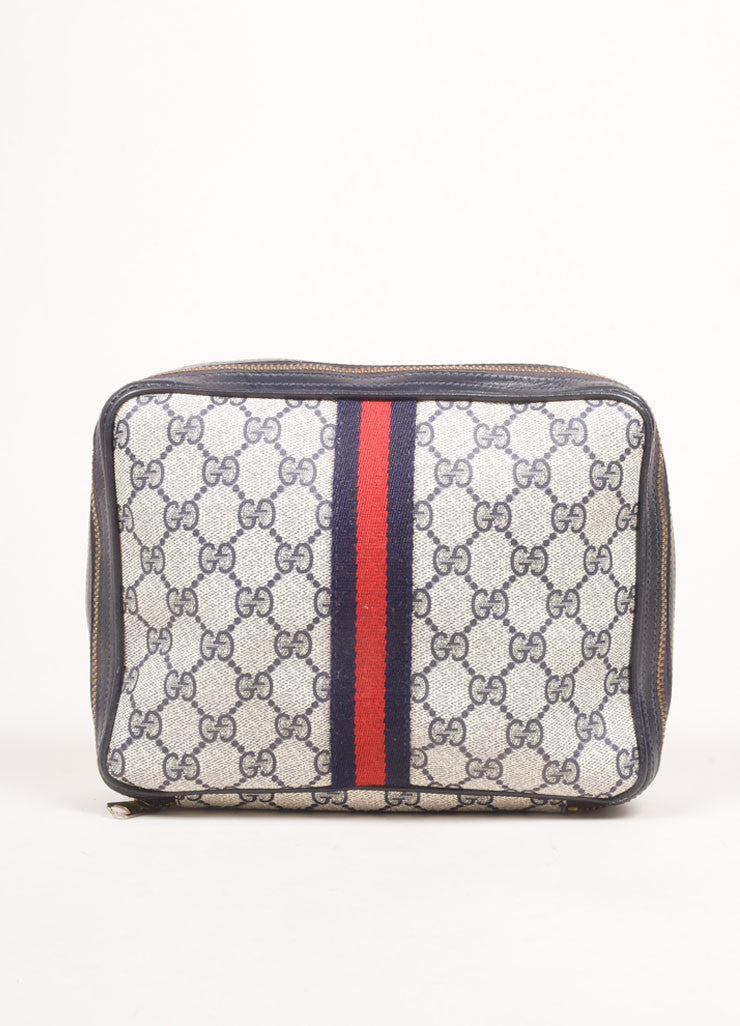 "Gucci Cream, Navy, and Red Coated Canvas Monogram ""GG"" Cosmetic Bag Frontview"