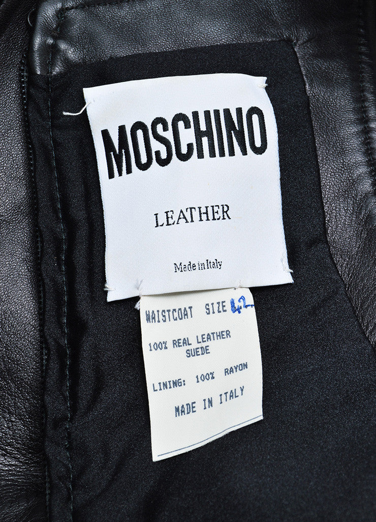 Vintage Moschino Black Leather Sleeveless Crop Top Brand