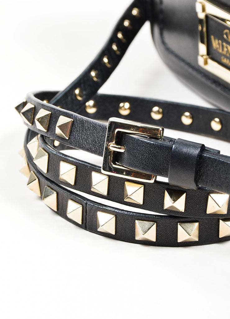 "Black Leather Valentino Studded ""Rockstud"" Flap Shoulder Crossbody Bag Detail 2"