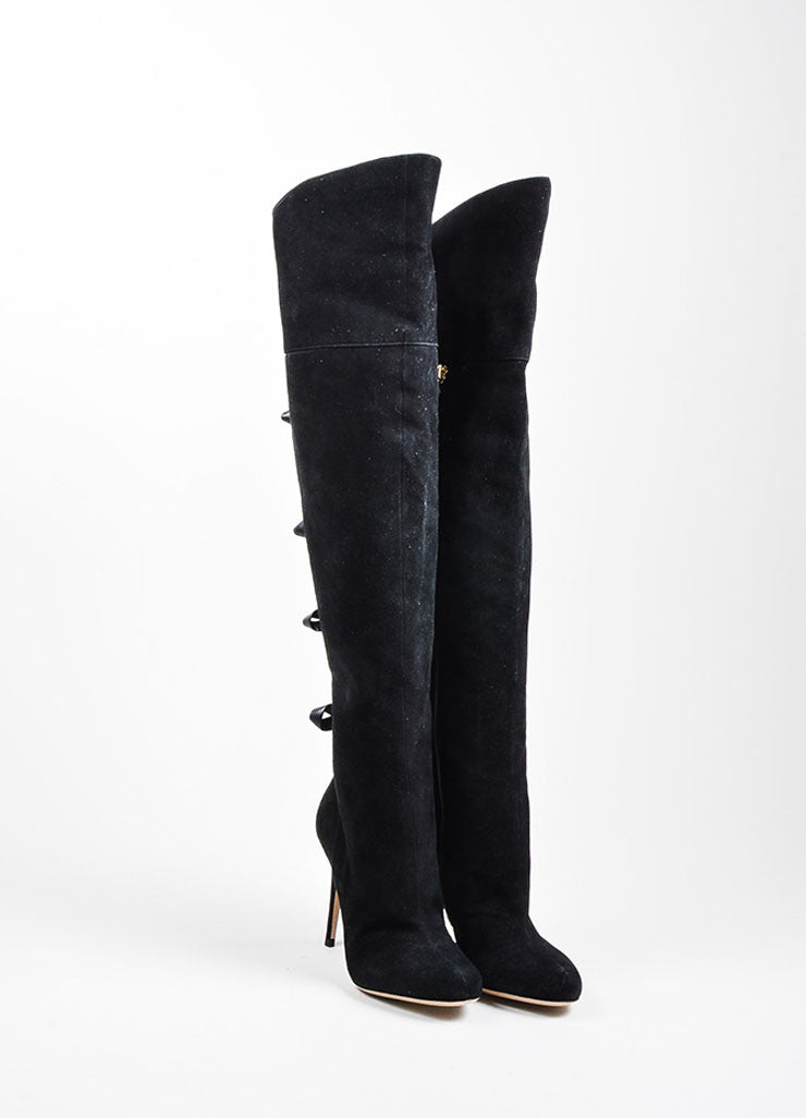Black Valentino Suede Leather Bow Over The Knee High Heel Boots Frontview