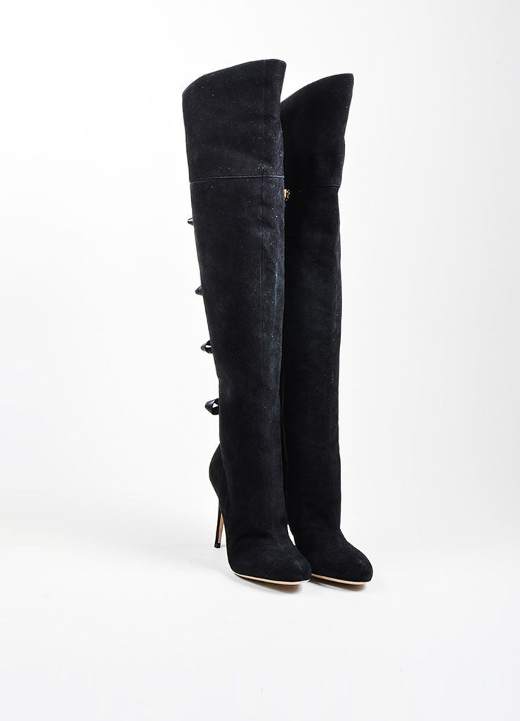 Valentino Black Leather Bow Over The Knee High Heel Boots Frontview