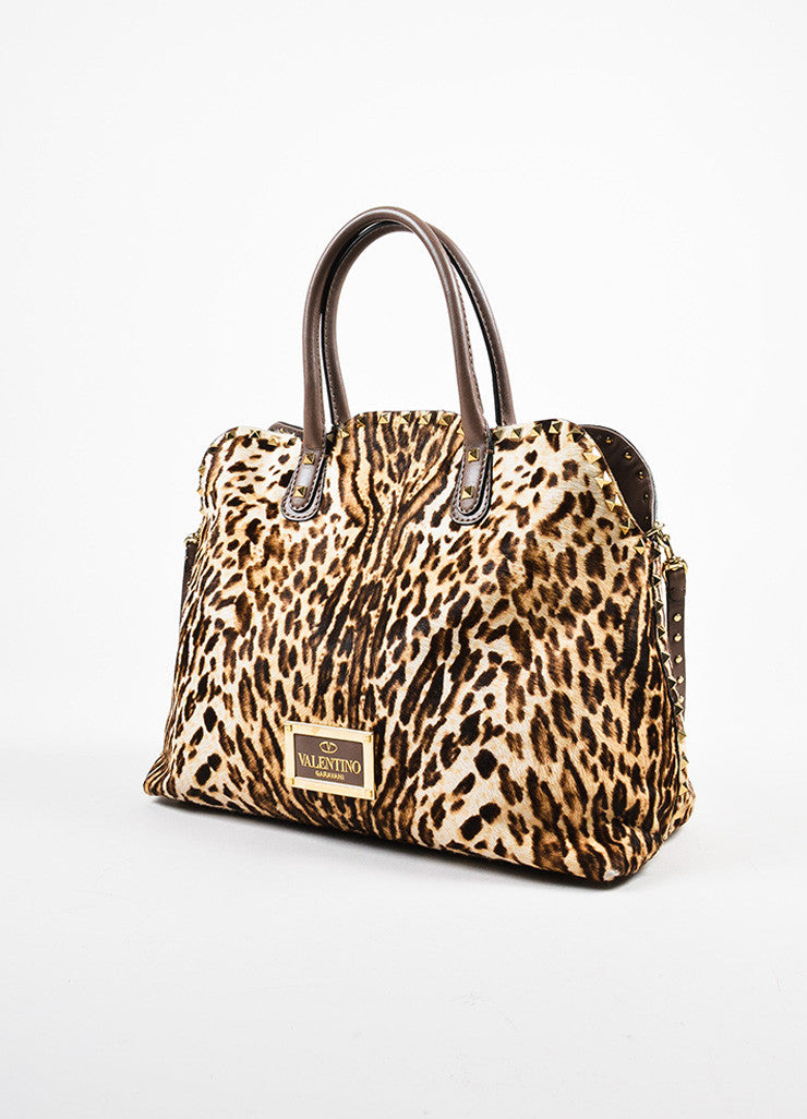 Valentino Brown, Tan, and Gold Leopard Print Pony Hair Rocktstud Handbag Sideview